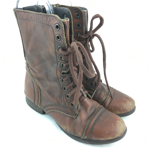 84e6753b7aa Troopa combat boots brown leather side zip lace up
